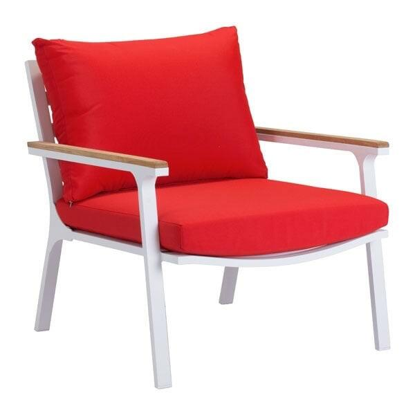 Maya Beach Arm Chair Red, Natural & White (Set of 2)