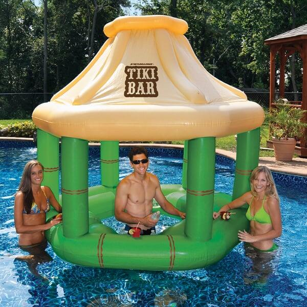 Tiki Inflatable Swim-Up Bar with Ice Coolers