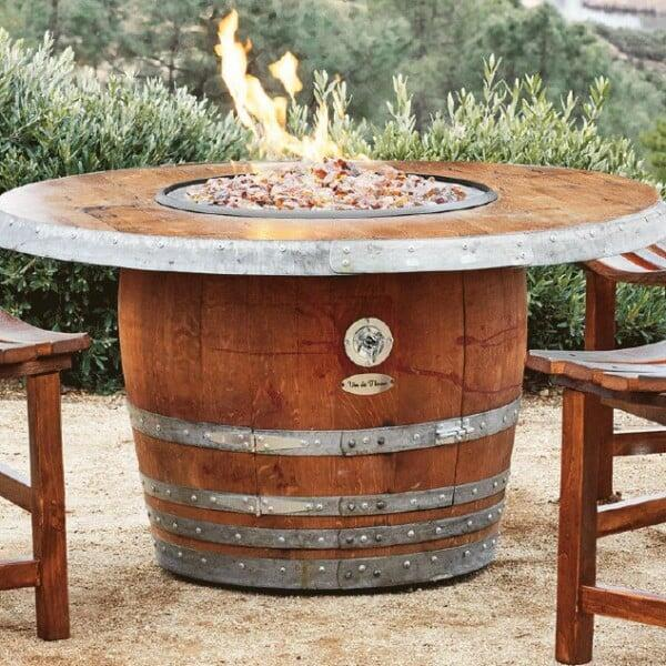 Reserve Wine Barrel Fire Pit Table by Vin de Flame