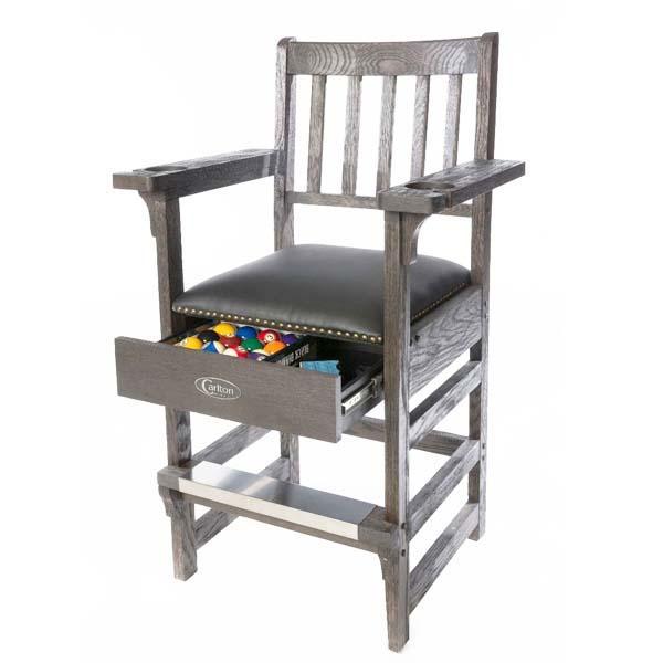 Solid Oak Billiard Spectator Chair W Drawer By Carlton
