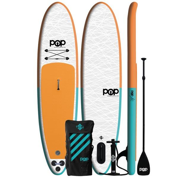 11' Orange Pop Up Inflatable Stand-Up Paddleboard Kit by POP