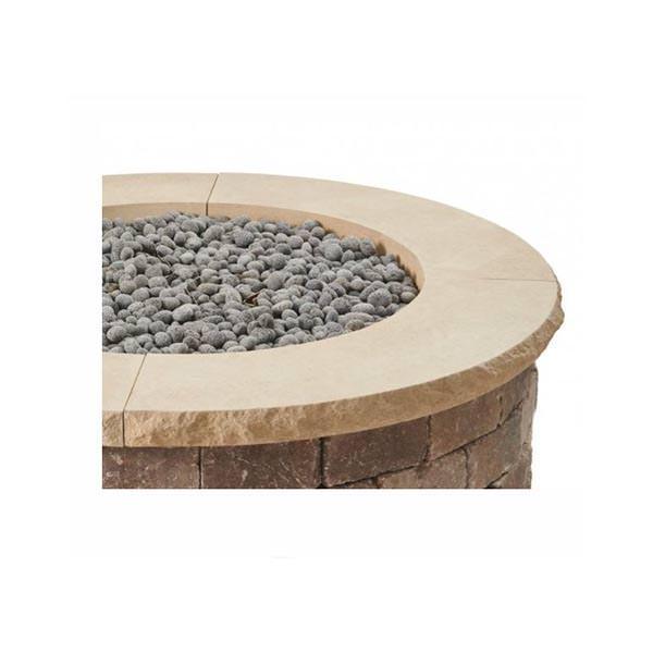 Bronson Round Hardscape Firepit Kit Limestone Tan top