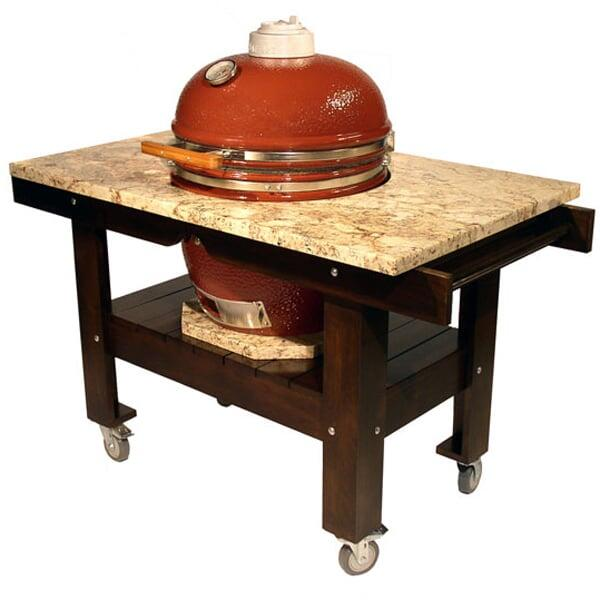 Acacia Wood Grill Cart w/ Granite Top by Saffire Grill Co.