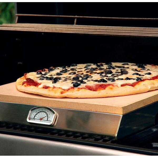 Pizza Craft Pizza Stone with Stainless Steel Base by Bull Grills