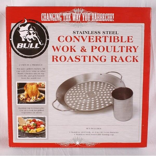 Stainless Steel Convertible Wok & Poultry Roasting Rack by Bull Grills