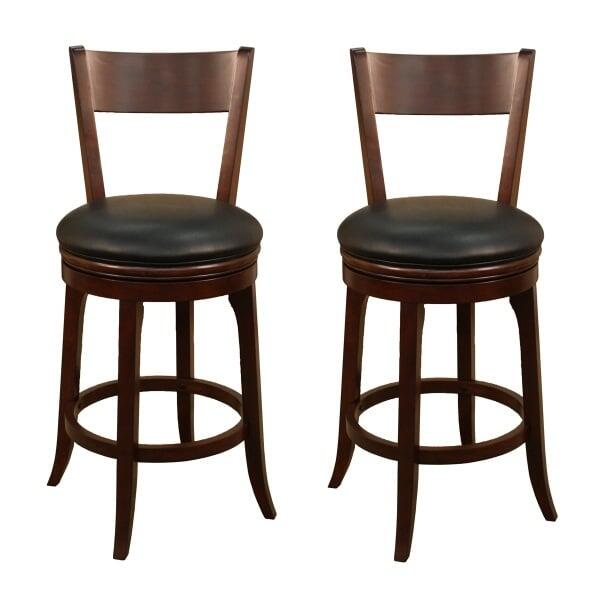 Classic Round Bar Stool With A Swivel Seat, Wood Frame & Black Vinyl