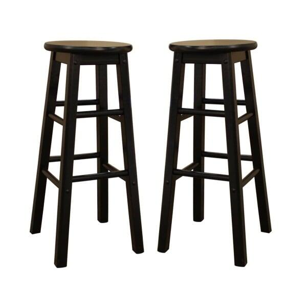 Awesome Classic Black Set Of 2 Bar Stools By American Heritage Beatyapartments Chair Design Images Beatyapartmentscom