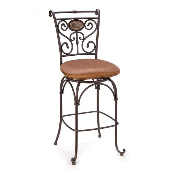 This Exquisite Bar Stool Offers A Backrest Design With An Inset Of Marble