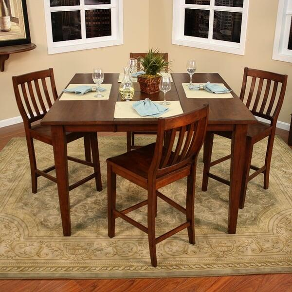 Beautiful Wood Counter Height Chairs U0026 Table Recall Mission Style Furniture  ...